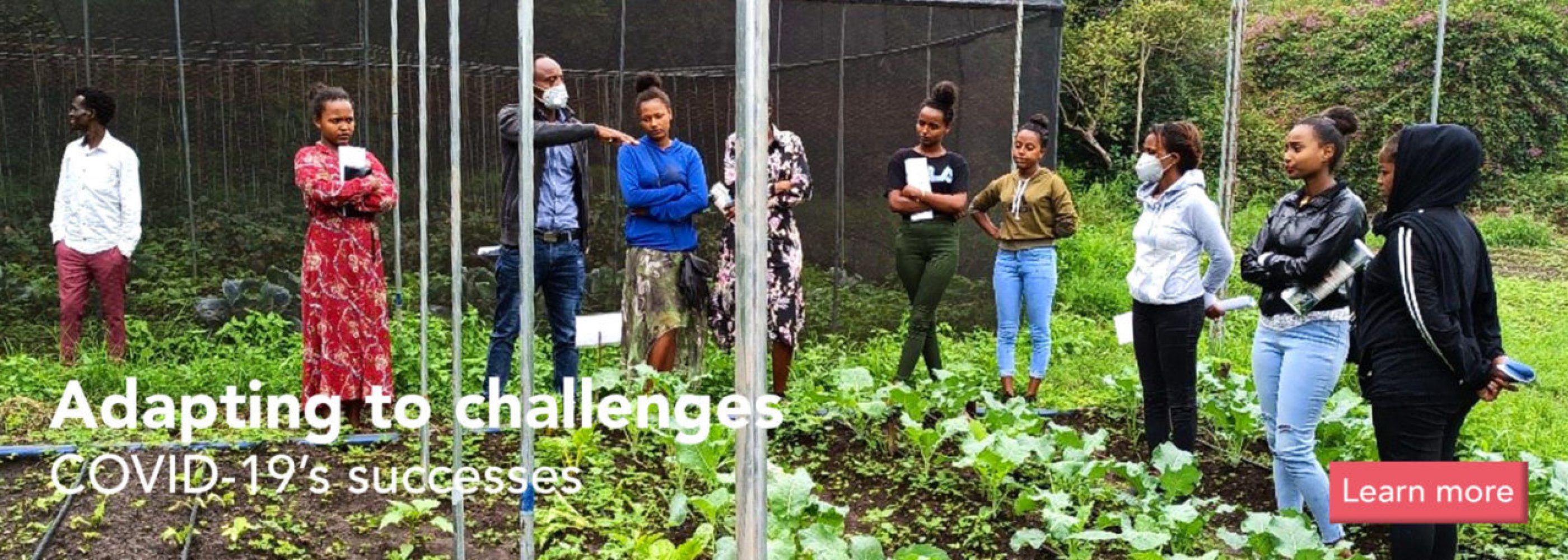 Students and teacher in the garden learning organic-farming