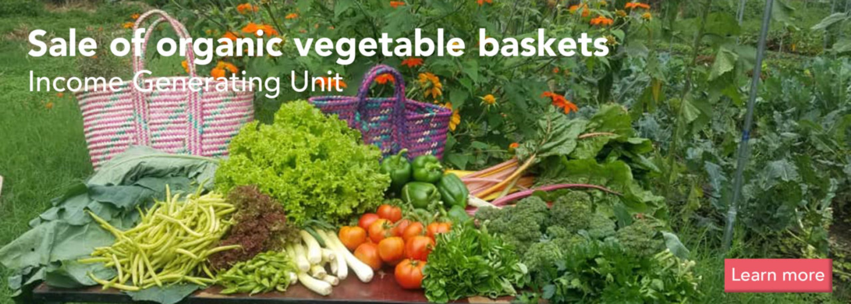 Organic vegetables, herbs and flowers with an ethiopian basket